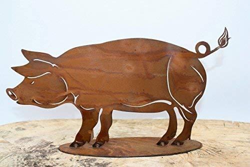 Deko Schwein Pokie, Edelrost Gartenfigure & -skulptur aus Metall größe 2