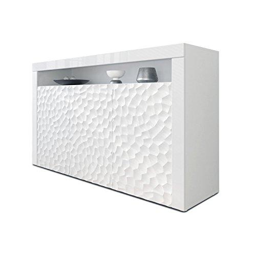 Sideboard Kommode Valencia, Korpus in Weiß matt / Fronten in Weiß Hochglanz Calypso mit 3D Struktur und Blenden in Weiß Hochglanz (Sideboard Metall)