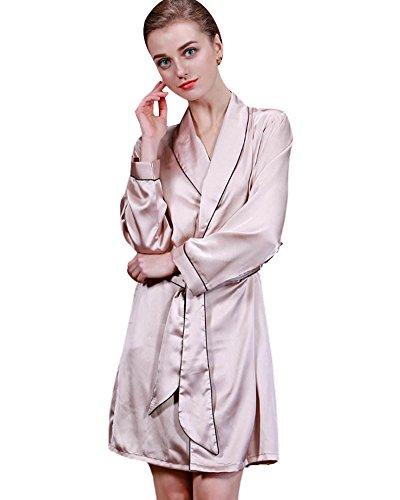 SaiDeng Elegant Femmes Kimono Peignoir Robe Peignoir De Nuit De Bain Pyjama En Soie Camel