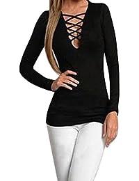 FEITONG Las mujeres atractivas de manga larga Encima de la tapa del vendaje Camiseta casual blusa de la camisa