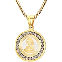 Vnox Acciaio inossidabile Cubic Zirconia Tag rotonda Vergine Maria Collana personalizzato Amuleto gioielli d