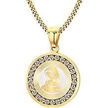 f4a420258716 Joielavie - Collar y colgante color dorado medalla de la Virgen María Madre  de Jesús