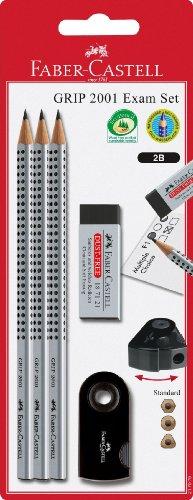 Faber-Castell 217079 2001 – Set de utensilios de escritura (3 lápices, 1 borrador y 1 sacapuntas), color negro y plateado