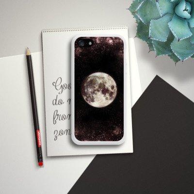 Apple iPhone 5s Housse Étui Protection Coque Lune Lune Lune Housse en silicone blanc