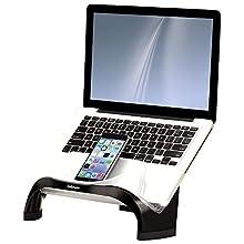 Fellowes 8020201 Supporto Laptop Smart Suites con 4 Porte USB da 2.0, Nero/Trasparente
