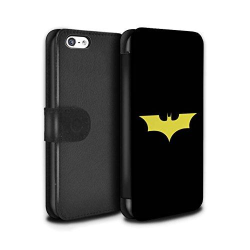 Stuff4® PU-Leder Hülle/Case/Tasche/Cover für Apple iPhone 5C / Bat-Signal Inspiriert Muster/Minimalistische Filmkunst Kollektion (Bat 5c Phone Case)