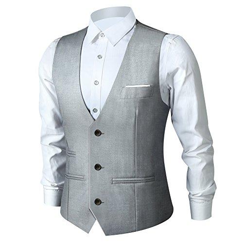 Zicac Herren Top entwickelt Casual Slim Fit Skinny Kleid Weste Weste, Gr. EU L(Asien 2XL), grau (Für Kleid-casual-weste Männer)