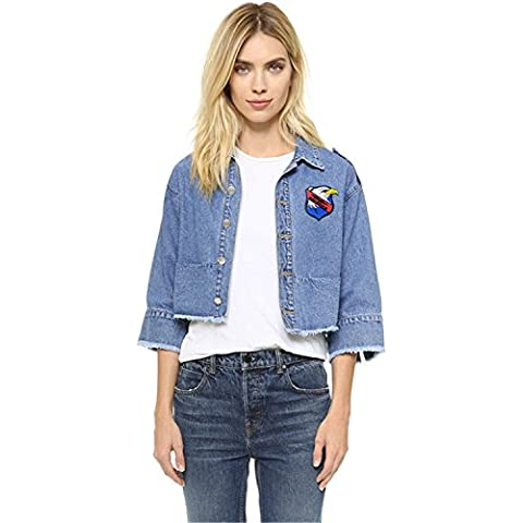 Eagle Butterfly Ricamato Ricamo Raw Edge Denim di jeans Jean Cropped Crop Corti Corto Giacca Superiore Top Blu