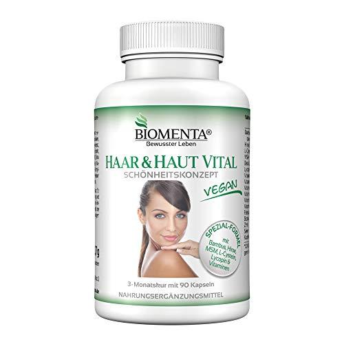 BIOMENTA HAAR & HAUT VITAL | VERBESSERTE REZEPTUR!!! | 3 Monatskur | mit Bambus Extrakt (Silizium), Hirse, L-Cystein, MSM, Lycopin, Biotin, Zink, Selen, Kupfer, B-Vitamine, Vitamin A, C, E | 90 Haar-Haut-Kapseln | VEGAN -