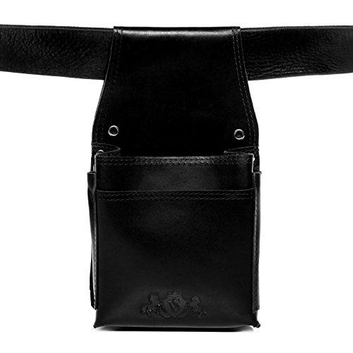 SID & VAIN Kellnerholster echt Leder Aberdeen groß Kellnertasche Kellnerhalfter Ledergeldbeutel schwarz -
