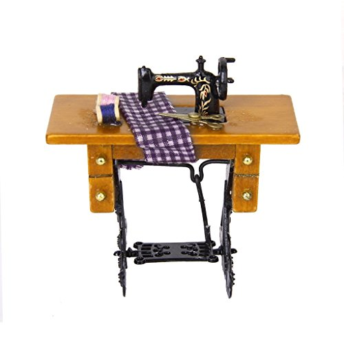 jinzhicheng 1/12Vintage decorativo gamuza de máquina de coser con tijeras en miniatura para casa de muñecas