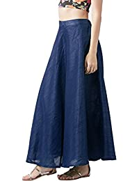 Vastraa Fusion Women Solid Chanderi Fabric Long Skirt with Inner Lining - Available in 16 Colours; Freesize (28 to 44 inches Waist)