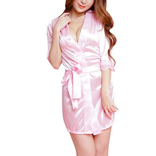 ESAILQ Damen Spitze Seide Unterwäsche Dessous Nachtwäsche Nachthemd Robe Dress(Freie Größe,Rosa)