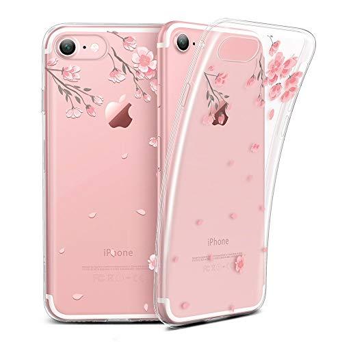 ESR Kompatibel mit iPhone 8, iPhone 7 Hülle, Transparent [Weich Silikon][Ultra Dünn] mit süßes Motiv Schutzhülle für Apple iPhone 8/7 4.7 Zoll 2017 - Kirschblüte