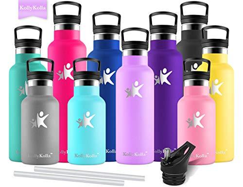 KollyKolla Vakuum-Isolierte Edelstahl Trinkflasche, 600ml BPA-frei Wasserflasche mit Filter, Thermosflasche für Kinder, Mädchen, Schule, Kindergarten, Sport, Wandern, Camping, Outdoor, Helles Lila