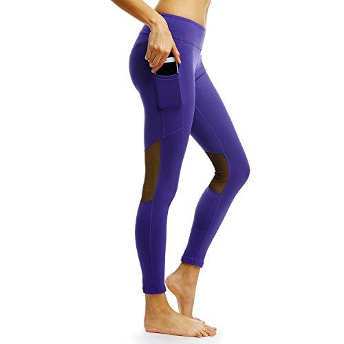 PERSIT Yoga Fitness Leggings mit Taschen Leggings Gym Leggings Hohe Taille für Damen Schwarz Best Workout Hosen für Frauen, Damen, 104blue, Medium - Besten Yoga-hose