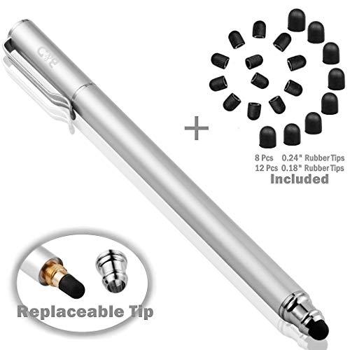 Bargains Depot B & D Stylus Stift Touch Pen Eingabestift Kapazitiven Touchscreen mit 20 x Ersatzspitzen für Tablet iPad iPhone Samsung Galaxy Tab (Silber)