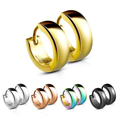 CREOLEN - Edelstahl - Damen & Herren Ohrringe - Klappverschluss Ohrstecker - 4mm breit - Ohrschmuck zum Klappen in 5 Farben: Schwarz, Rose-Gold, Silber, Gold, Bunt (Regenbogen) ()
