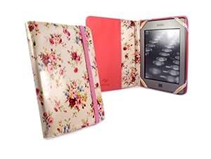 "Tuff-Luv Slim Book-Style fabric case cover for Amazon Kindle 4 / Touch / Paperwhite / 6"" E-Ink e-reader - Beige (Secret Garden)"