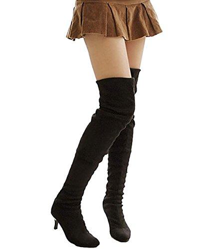 Minetom Mujer Invierno Overknee Botas Gamuza Pointed Toe Zapatos Largo Botas Moda Muslo Alto Botas Negro EU 38