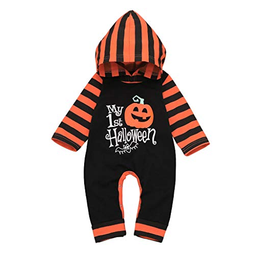 squarex ® Girl Kapuzenoverall Baby Halloween Kürbis Gestreifter Strampler Overall Outfits Legerer Strampler Junge Bequemer - Weiches Und Bequemes Kürbis Kleinkind Kostüm