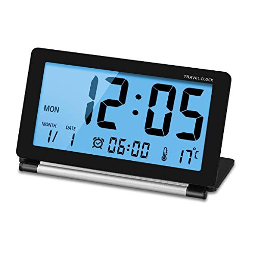 Manfore Reisewecker, Batteriebetrieben Digitaler Reisewecker/Digitalwecker/Tischuhr mit Nachtlicht, Schlummerfunktion, LCD Temperatur/Datums Anzeige für Zuhause Büro Reise benutzen (Schwarz)