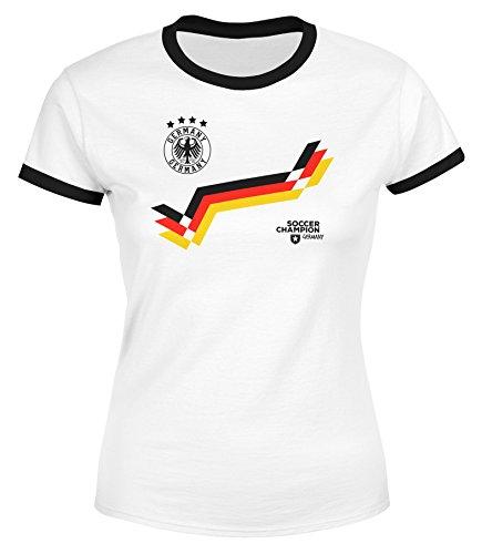 MoonWorks WM Shirt Damen Retro Deutschland Fußball Fan Zick Zack Streifen Germany Weiß-Schwarz L (Streifen T-shirt Retro Weiches)