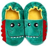 Tianhaik Zapatillas de Dinosaurio de Dibujos Animados para niños pequeños Zapatillas de casa Antideslizantes cálidas de Invierno para niños