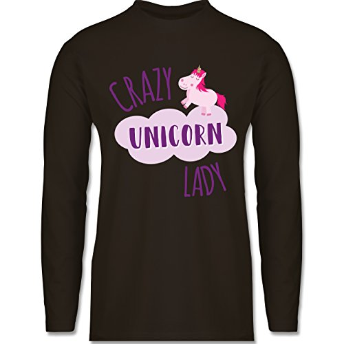 Statement Shirts - Crazy Unicorn Lady - Longsleeve / langärmeliges T-Shirt für Herren Braun
