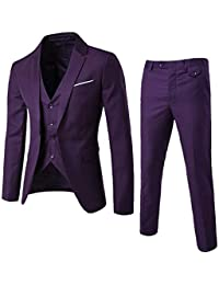 743254e748b3a Traje Suit Hombre 3 Piezas Chaqueta Chaleco Pantalón Traje al Estilo  Occidental 9 Colores 9 Sizes