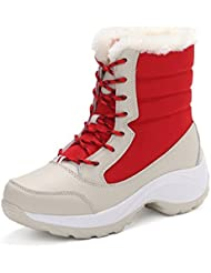 xmeden mujeres botas de nieve para forro de piel invierno Nieve Lluvia Caliente Impermeable Botas, mujer, rojo