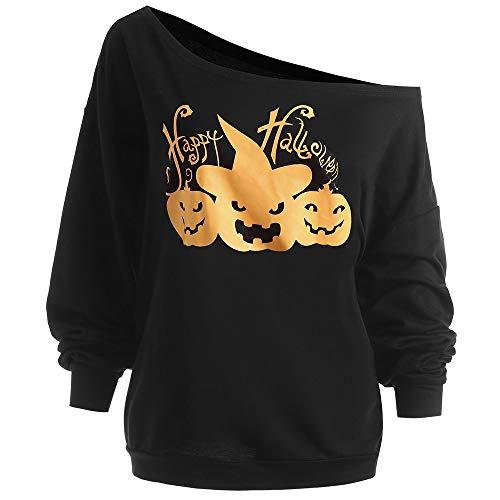 JYYC Plus Size Happy Halloween Kürbis T-Shirt Frauen Skew Neck Long Sleeves T-Shirt Herbst Winter Kleidung Damen Tops 5XL-Schwarz, 5XL (Plus Halloween Happy Size)
