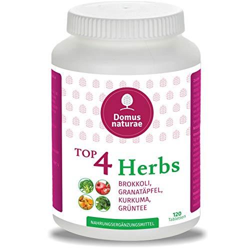 TOP4 Herbs BROKKOLI, GRANATÄPFEL, KURKUMA (Curcuma), GRÜNTEE | 120 Hochdosierte Tabletten ( keine Kapseln ) |100{da764c2c3b75ded4ca7a32c21a273ef687a19a604958be7b19b567b6b7840a55} Vegan Polyphenol Nahrungsergänzung | Naturprodukt Extract