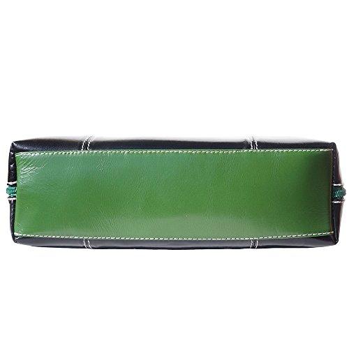 Borsa a spalla con doppio manico in cuoio 216 Nero-Verde