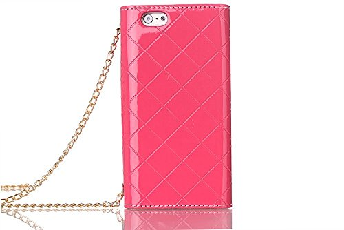 5,5 zoll iPhone 7 Plus Case, TechCode® Handy Case PU Leder Flip Phone Hülle Kette Handtasche Telefon Cover Schleife Style Strap Chain Metall Schäkel Eisenkette Series Bling Hülle Tasche Schutz Flip PU Hot Pink-A02