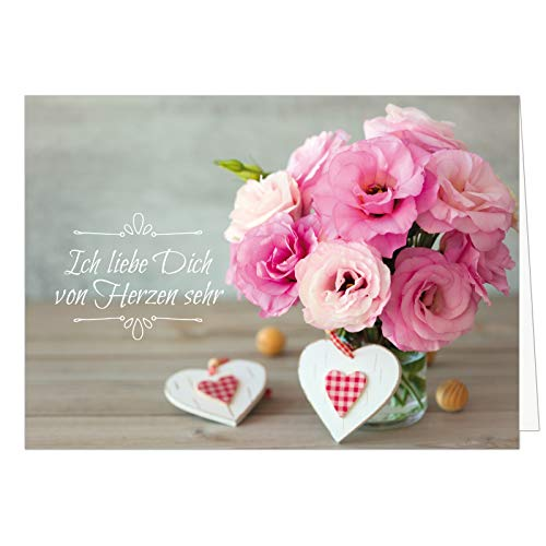 Große XXL Karte mit Umschlag (A4) /Motiv Blumenstrauß mit Herzen und Spruch/Edle Design Klappkarte/Hochzeit/Liebe/Hochzeitstag/Valentinstag/Heiratsantrag/Edle Maxi-Karte