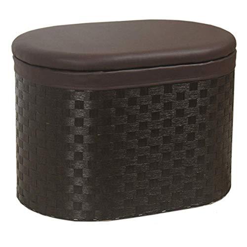 QQXX Osmanische Aufbewahrungstruhe aus Holz, handgefertigt aus Rattan, gewebter Rahmen, Schuhbank, ovale Sitzbank, Pu-Auflage, Retro, braun (Farbe: BrownA, Größe: 60 x 41 x 42 cm) -