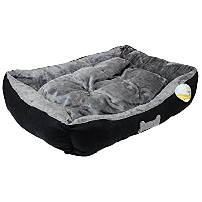 Me & My Black & Grey Medium Super Soft Dog Bed