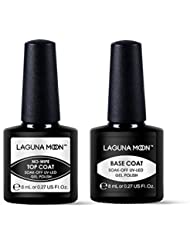 Lagunamoon UV Nagellack, Gel Nagellack UV LED Base und Top coat Set für Nageldesign Gel Polish, 2 Stück Maniküre set, Soak off Gel Nagellack für Nail Art