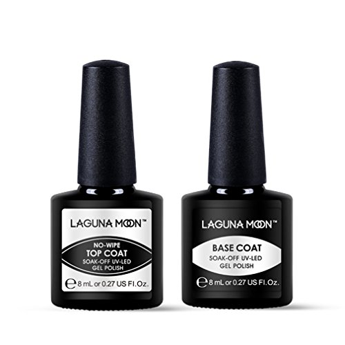Lagunamoon UV Nagellack, Gel Nagellack UV LED Base und Top coat Set für Nageldesign Gel Polish, 2 Stück Maniküre set, Soak off Gel Nagellack für Nail Art -
