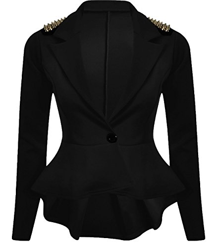 CHOCOLATE PICKLE New Womens Plus Size Gold Studded Peplum Blazer Jacket Womens Spike Jacket 8-24 (Black, UK 10/EU 38) (Size Plus Black Blazer)