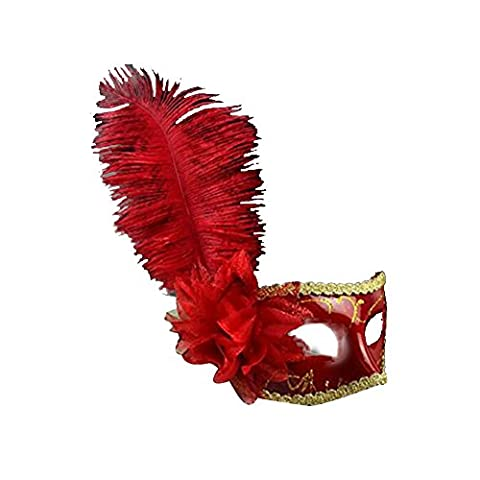Surker Ostrich Colorful Feather avec Flower Masquerade Mask Party / Halloween MK00045C