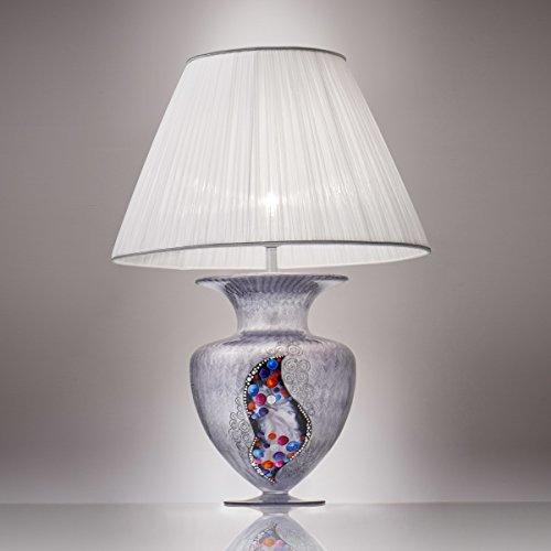 Kolarz Premium Tischleuchte Chrom Vase Faltenschirm Trichter-Schirm E27 Nachttischleuchte Vasenlampe...