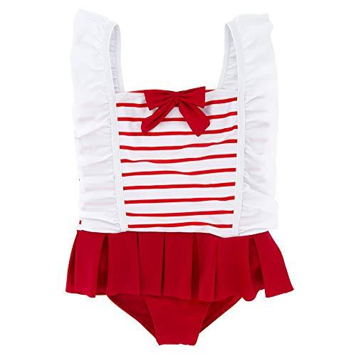 Mädchen Badeanzug Mädchen Kinder Schöne Rote Streifen Einteilige Bikini Badeanzug Prinzessin Bademode Badeanzug 1-6 Jahre Süßer einteiliger Badeanzug für Kinder (Größe : 3T) -