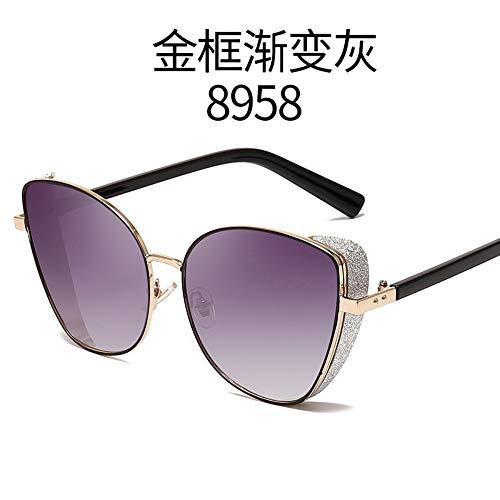MJDABAOFA Sonnenbrillen Frauen Männer Sonnenbrille Gold Frame Farbverlauf Grau Vintage Metall Katze Augen Damen Sonnenbrillen Sport Fahren Für Dame Frau Und Männer Sonnenbrille
