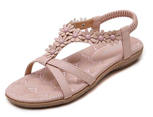 Aisun Damen Süße Blumen T Spange Offene Zehe Weiche Sohle Ohne Verschluss Sandalen Pink