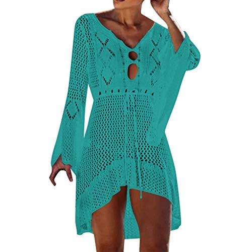 Womens Swimsuit Solid Knit Hollow Bell Sleeve Sunscreen Cover Up Bikini Swimwear Beachwear(Grün,M) - Solid Knit Short