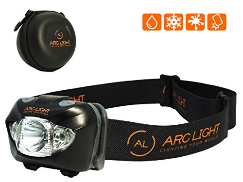 ARC LIGHT LED Head Torch Headlamp for Running, Walking, Cycling, Working, Camping and Cave Exploration. 3 AAA Long Life Duracell Batteries Included and also comes In a Protective Hard Case. Water Resistant and Shock Proof LED Helmet Torch Headlight.