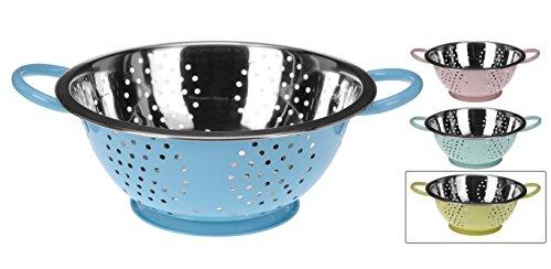 Küchensieb Edelstahl 24 cm Sieb Seiher Nudelsieb mit Griffen rosa blau gelb mint (Gelb)