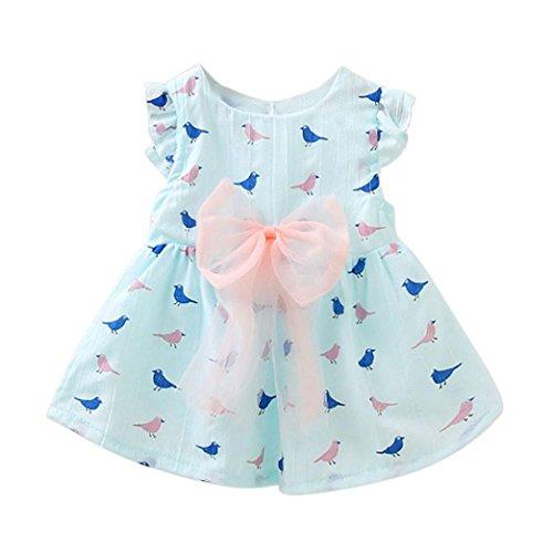 Bekleidung Longra Kinder Baby Mädchen Sommerkleid Vögel Drucke Bowknot Ärmellos Prinzessin Kleid Kind Kleid Kleidung Outfit (0-24Monate) (65CM 6Monate, Light (Junge Kostüm Kleinkind Vogel)